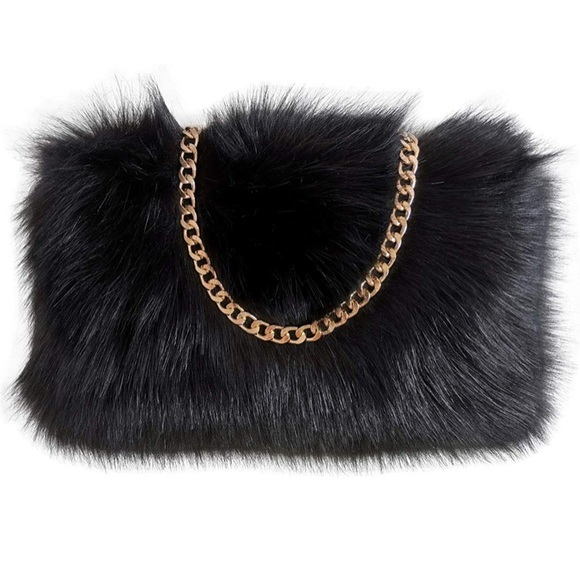 Handbags - Faux Fur Purse Fuzzy Shoulder Bags